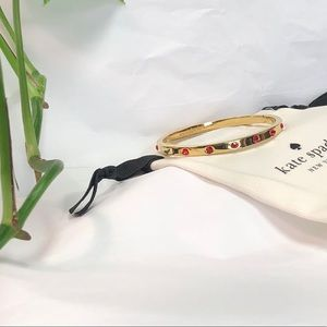 NEW KATE SPADE ♠️ GOLD BANGLE WITH RED STONES